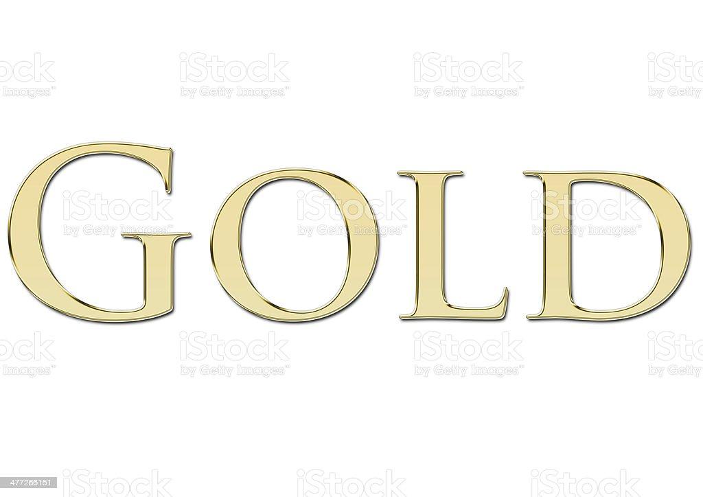 Gold written in golden letters stock photo
