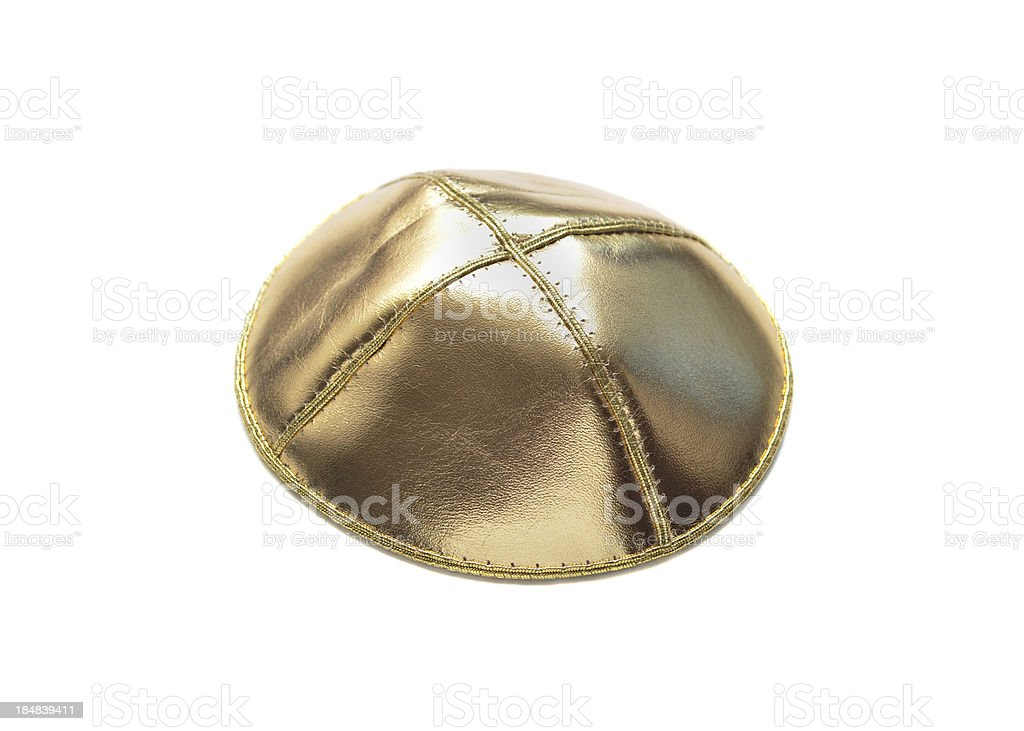 Gold Yarmulke stock photo