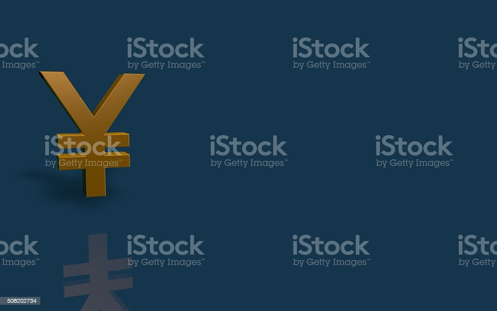 Gold Yen currency symbol on blue background with reflection. stock photo