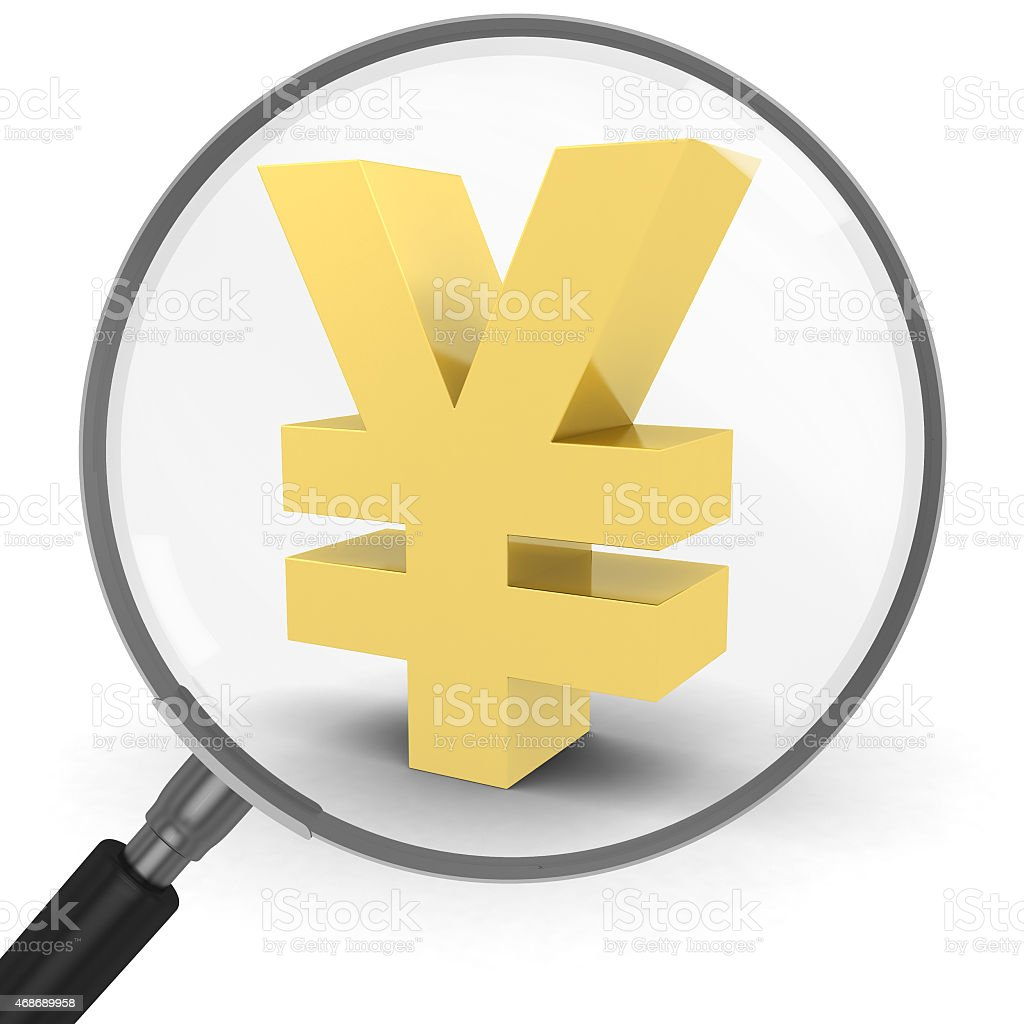 Gold Yen Symbol Under a Gold Magnifying Glass stock photo