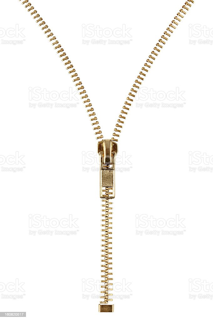 Gold zipper that is halfway zipped up stock photo