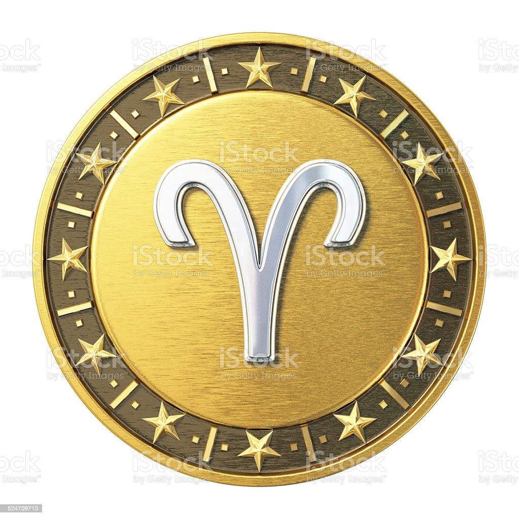Gold Zodiac Signs - Aries stock photo