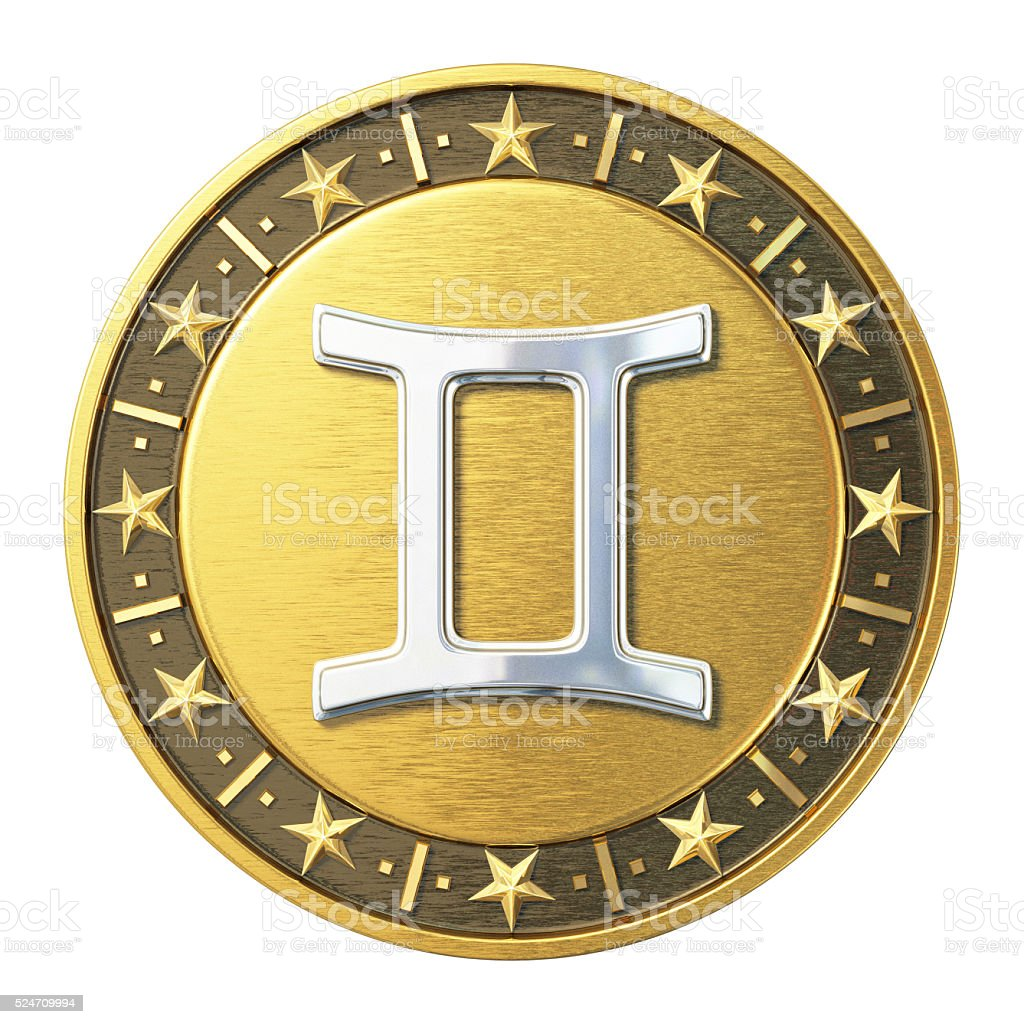 Gold Zodiac Signs - Gemini stock photo