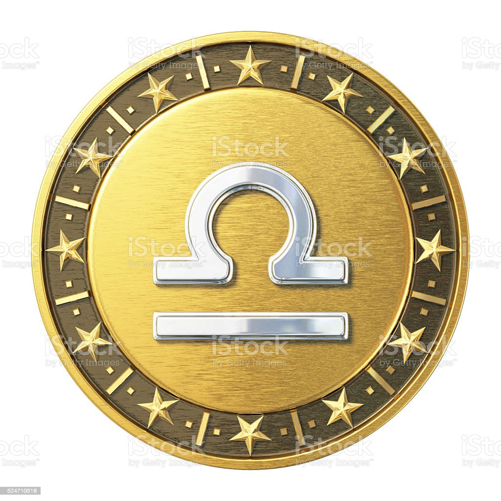 Gold Zodiac Signs - Libra stock photo