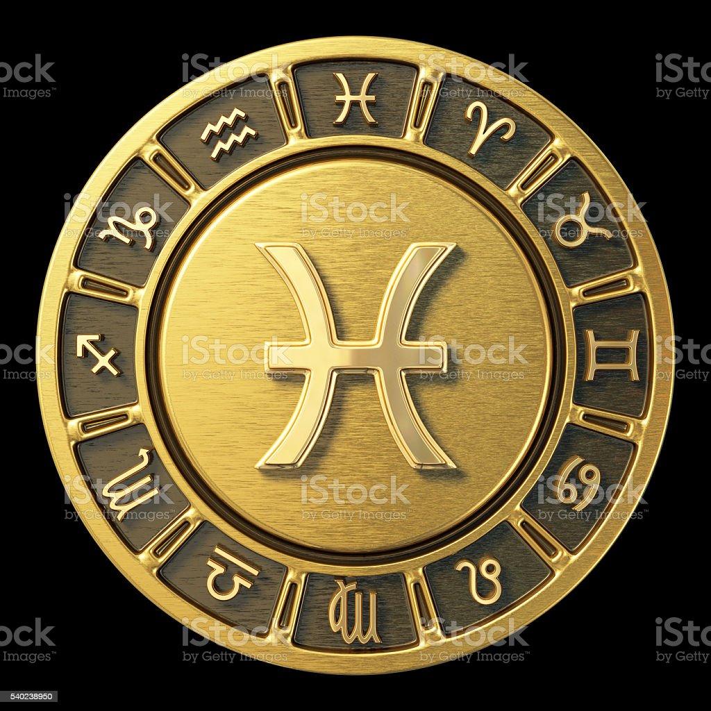 Gold Zodiac Wheel - Pisces stock photo