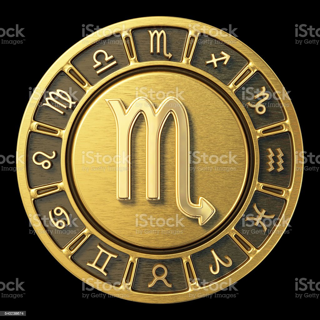 Gold Zodiac Wheel - Scorpio stock photo