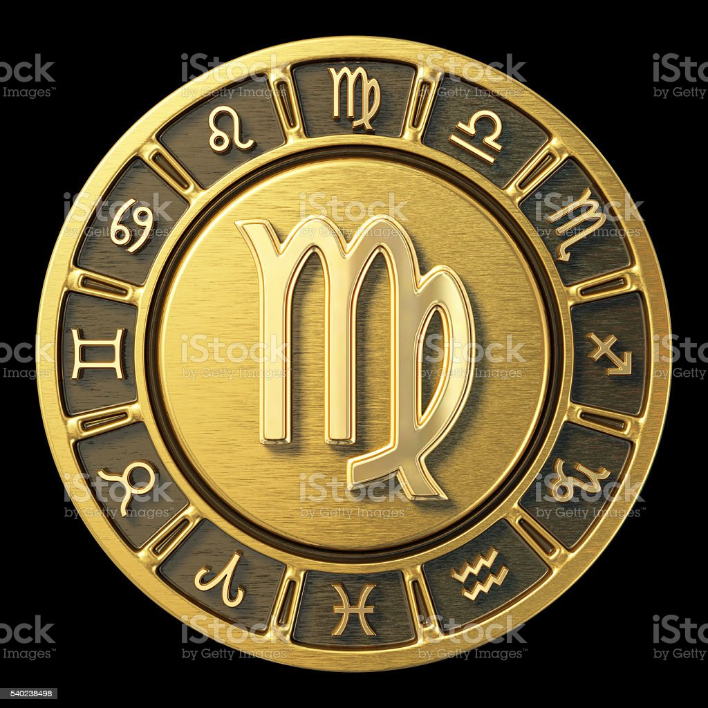 Gold Zodiac Wheel - Virgo stock photo