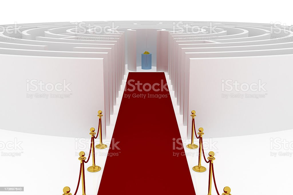 Goldbarrens in maze with red carpet stock photo