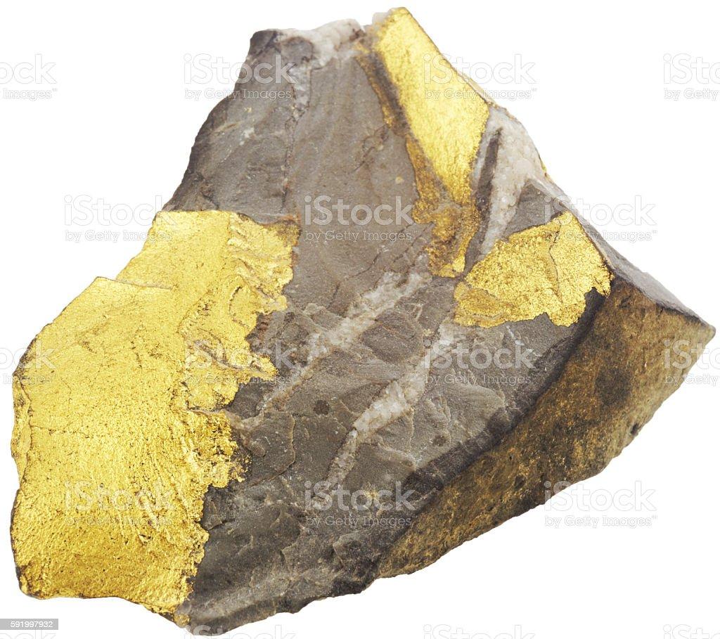 Goldhaltiger Stein auf weiß stock photo