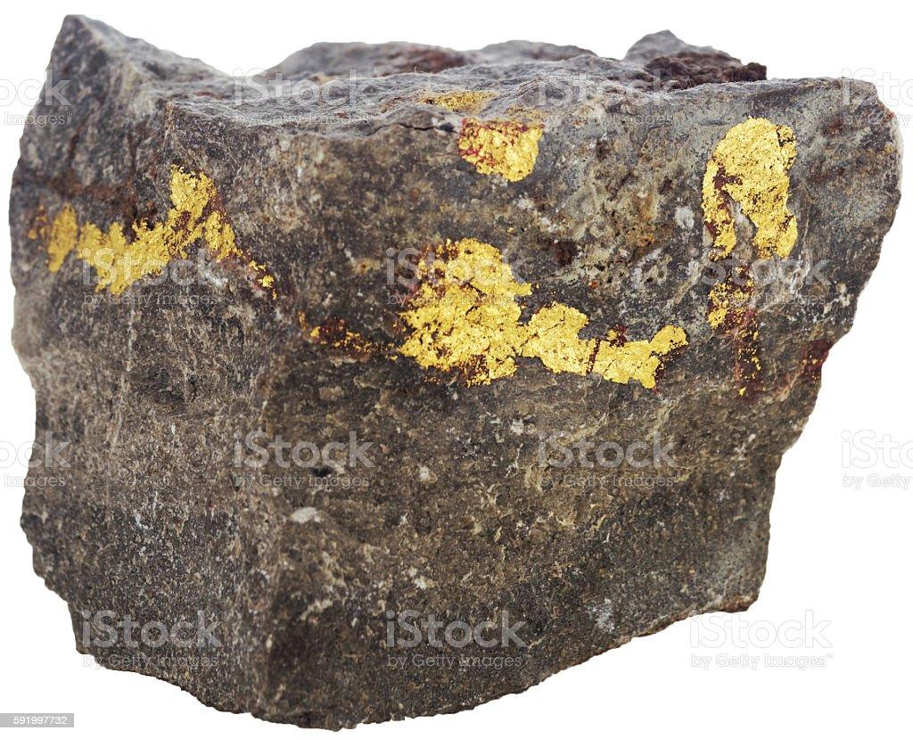 Goldeinschlüsse in Stein stock photo