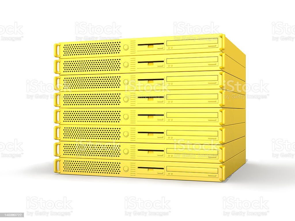 Golden 19inch Server Stack royalty-free stock photo
