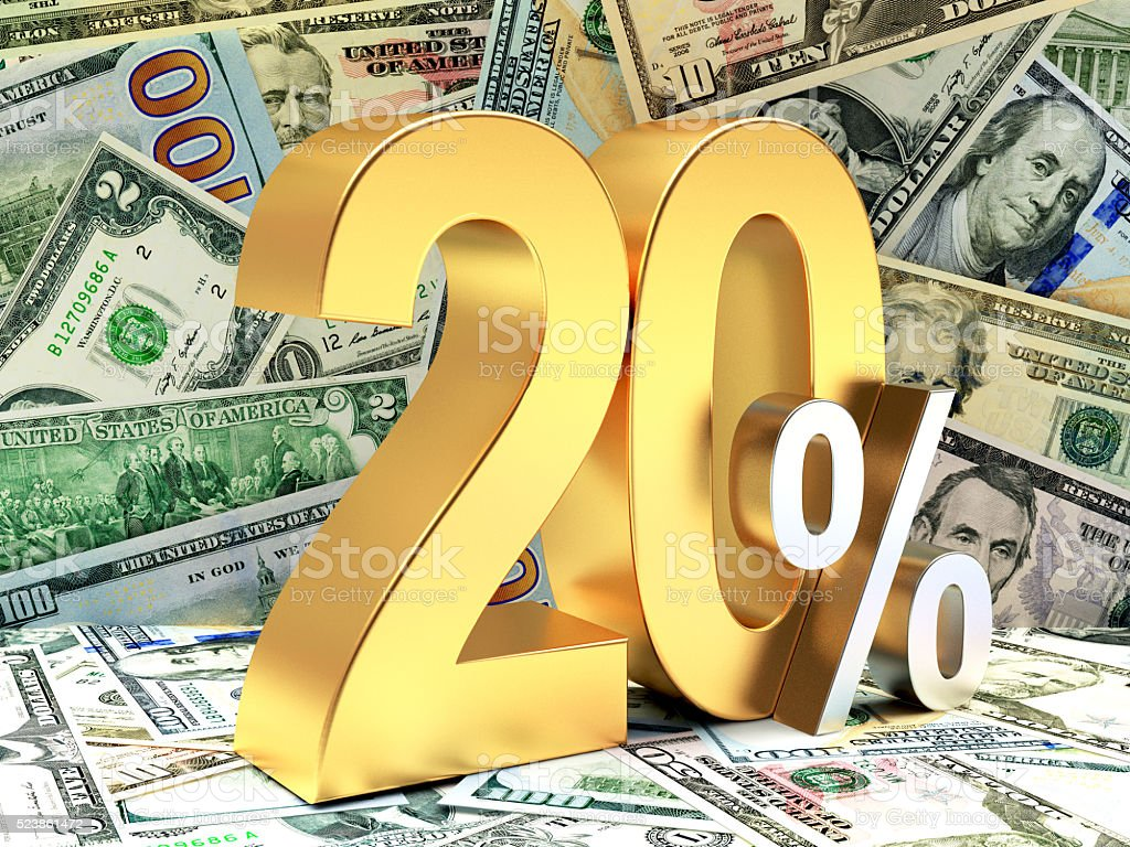 Golden 20 PERCENT on DOLLAR bills stock photo