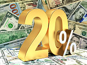 Golden 20 PERCENT on DOLLAR bills