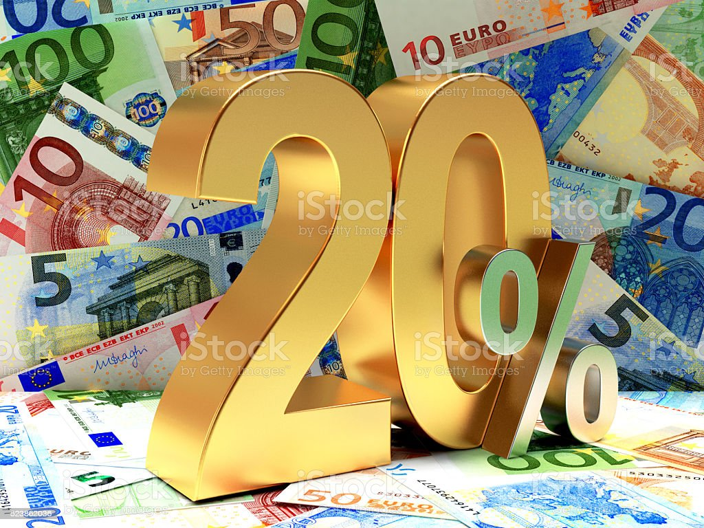 Golden 20 PERCENT on EURO bills. stock photo