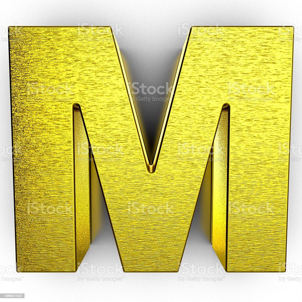Golden 3d alphabet letter M on white background stock photo