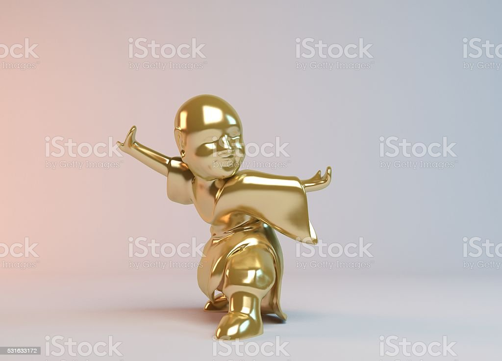 Golden 3d boy fighting stock photo