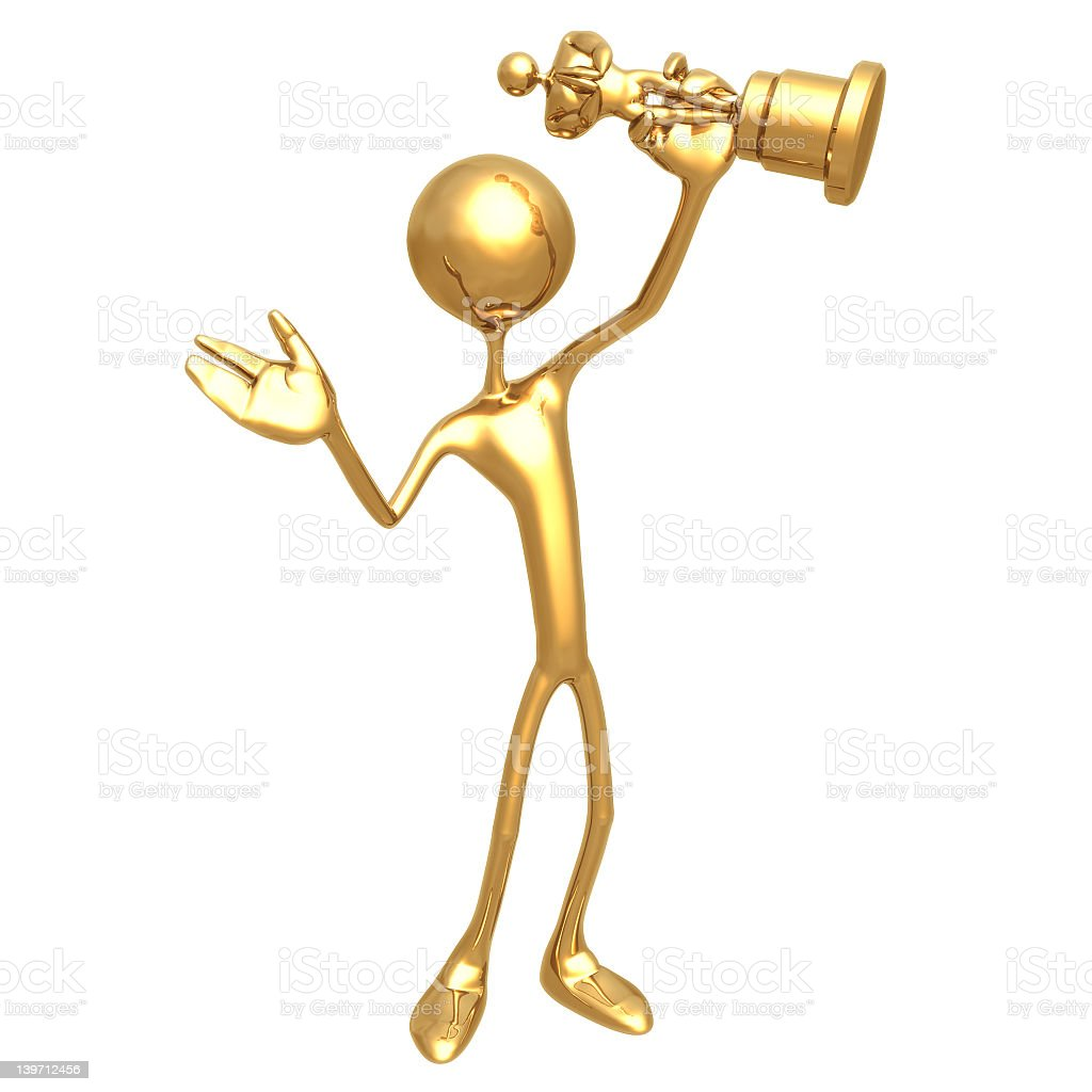 A golden 3D figurine holding a gold trophy royalty-free stock photo