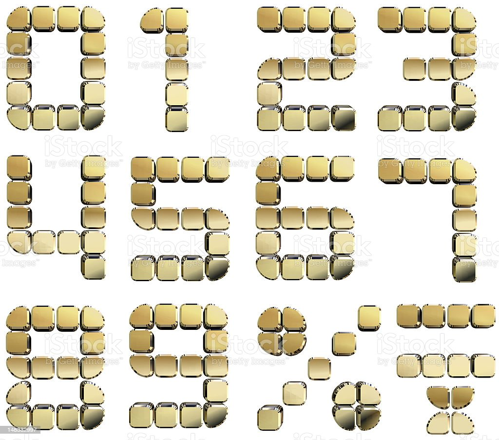 Golden 3D numbers royalty-free stock photo