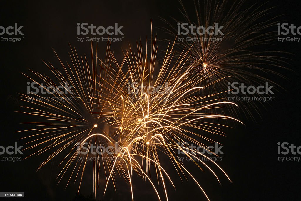 Golden 4th of July fireworks royalty-free stock photo