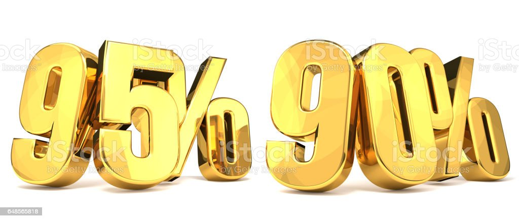 golden 95% 90 % 3D Render stock photo