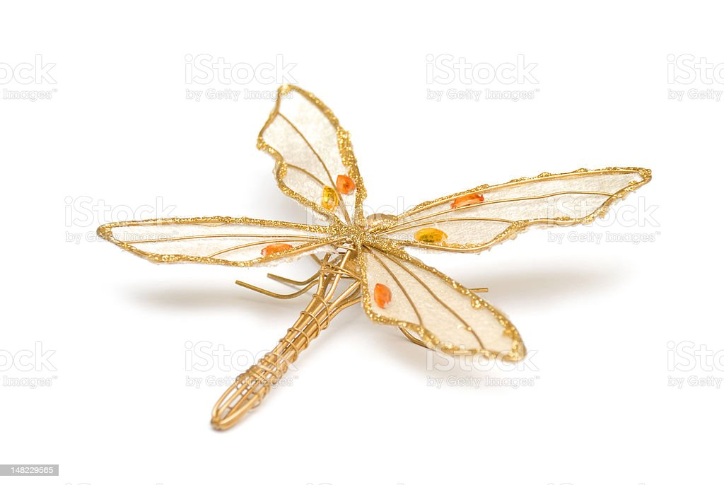 Golden accessorie in form dragonfly royalty-free stock photo