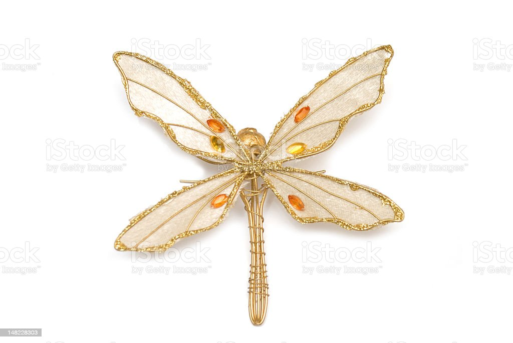 Golden accessory in form dragonfly royalty-free stock photo
