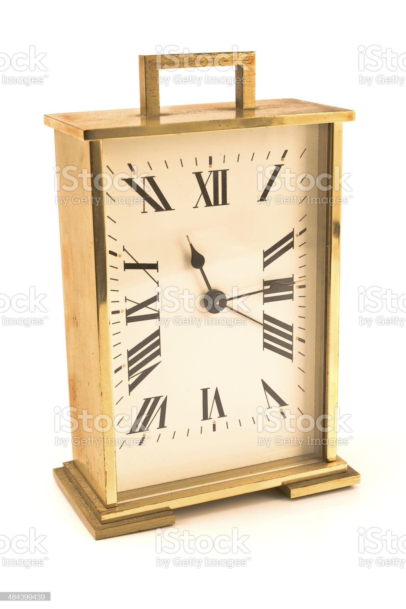 Golden alarm clock royalty-free stock photo