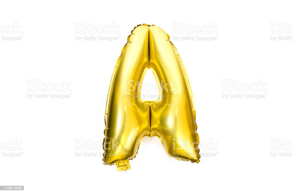 Golden Alphabet Foil Balloon Letter A stock photo