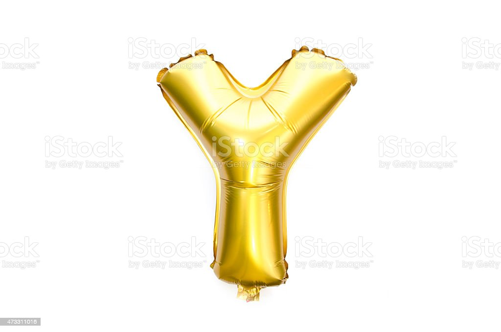 Golden Alphabet Foil Balloon Letter Y stock photo
