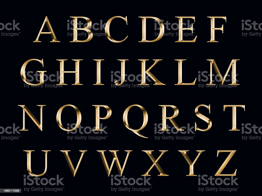 golden alphabet stock photo