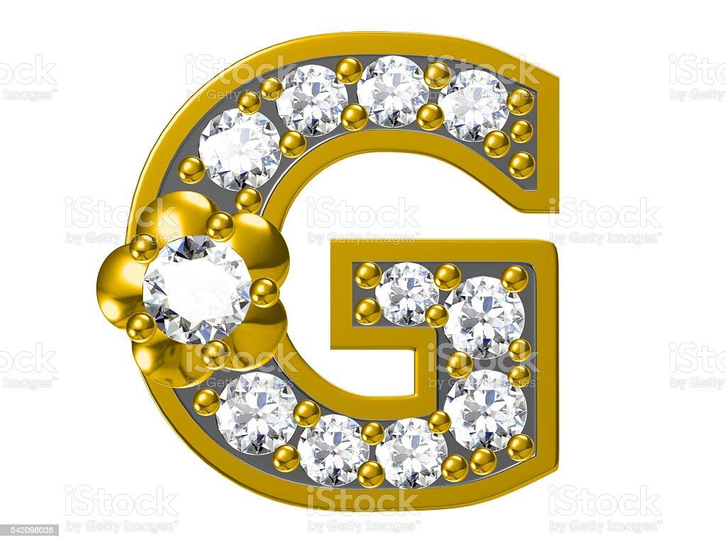 Golden alphabet with diamonds, stock photo