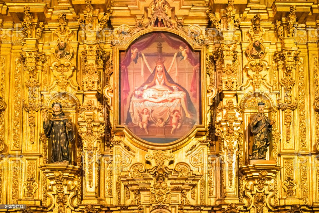 Golden Altar Detail Metropolitan Cathedral in Mexico City stock photo
