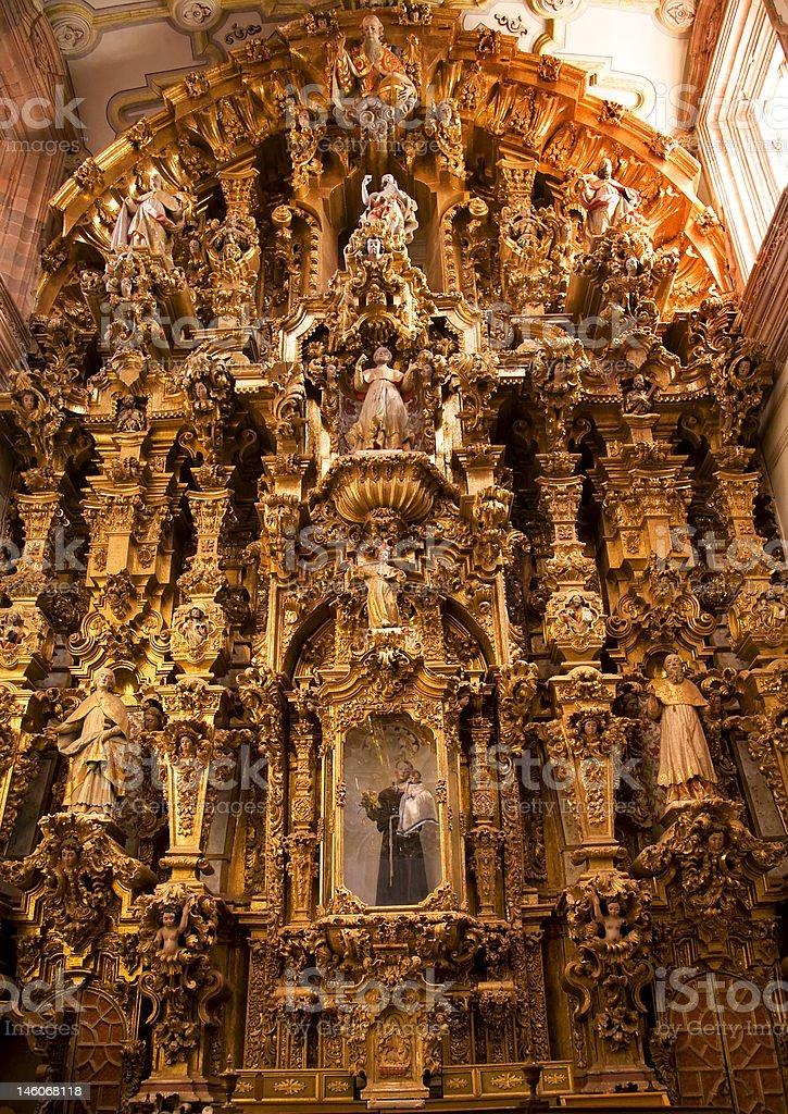 Golden Altar Piece Valencia Church Guanajuato Mexico royalty-free stock photo