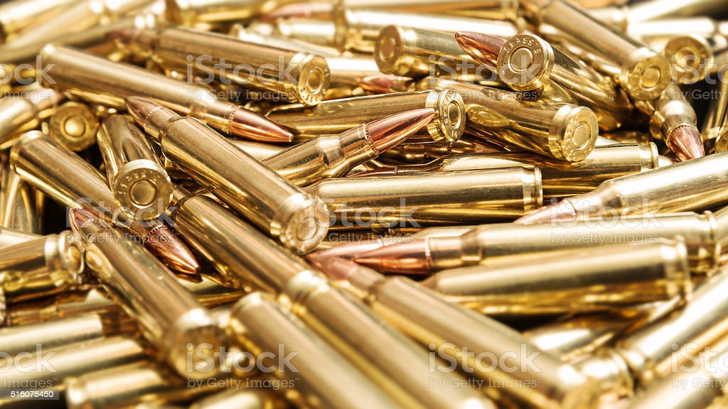 Golden ammunition stock photo