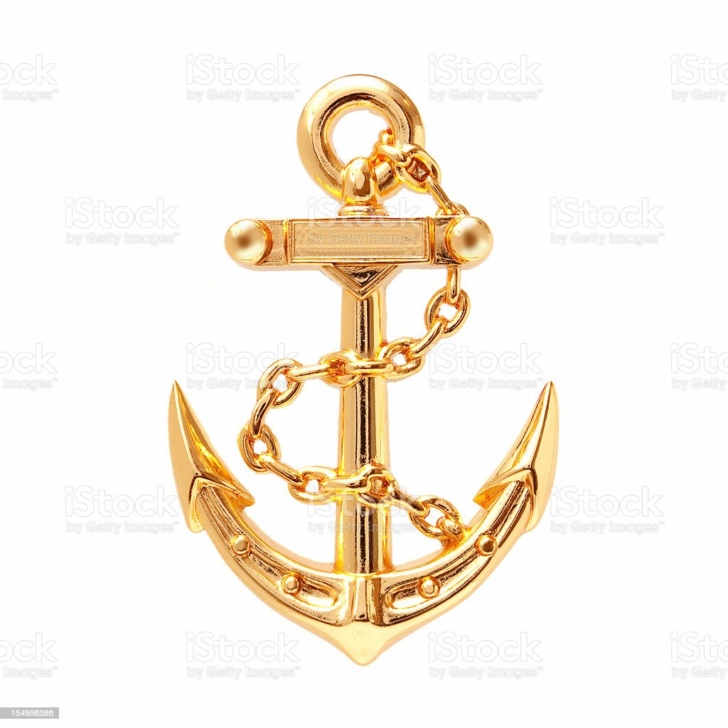 Golden Anchor (Clipping path) isolated on white background royalty-free stock photo