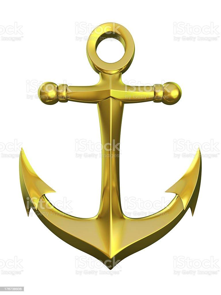 golden anchor royalty-free stock photo
