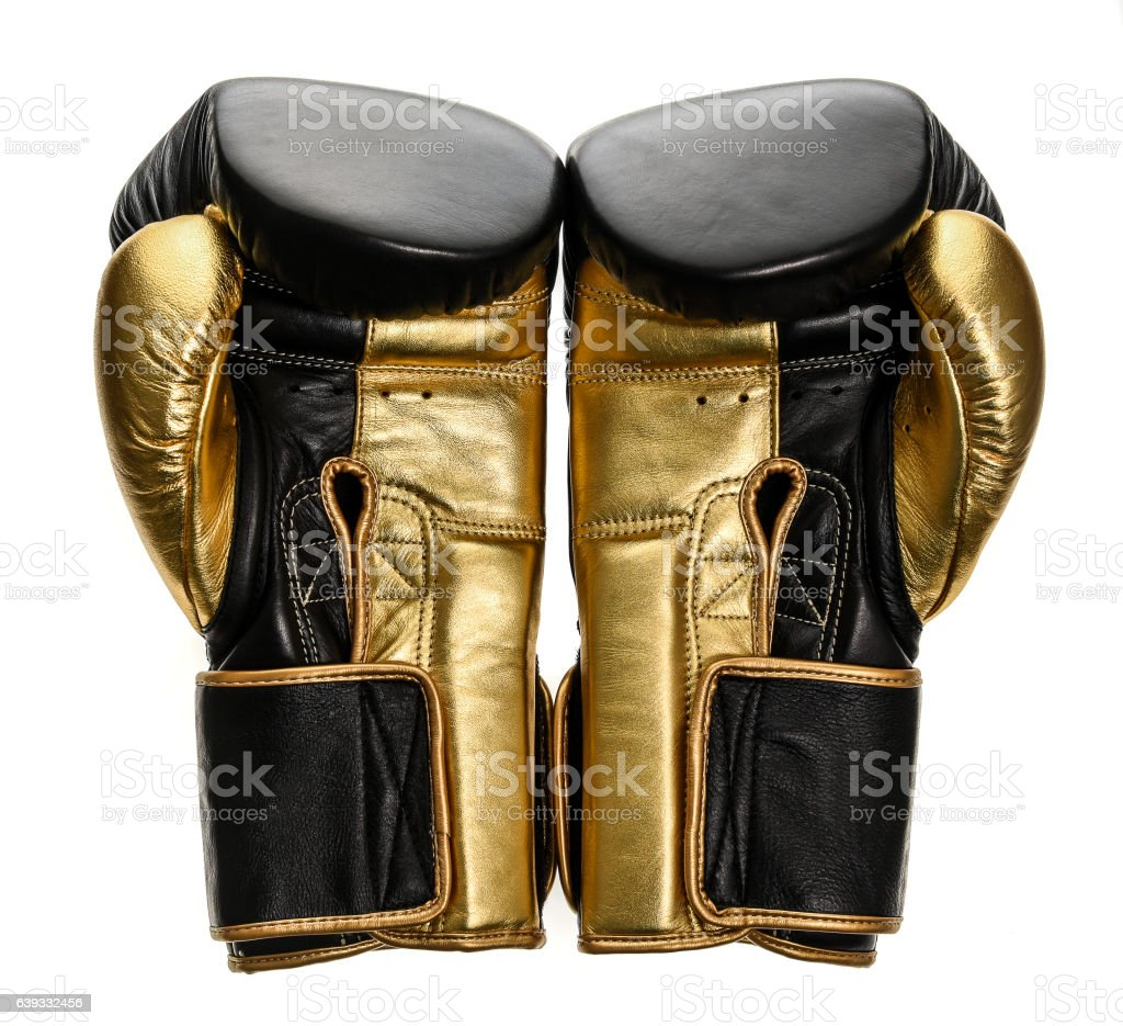 Golden and black leather leather boxing gloves isolated on white stock photo