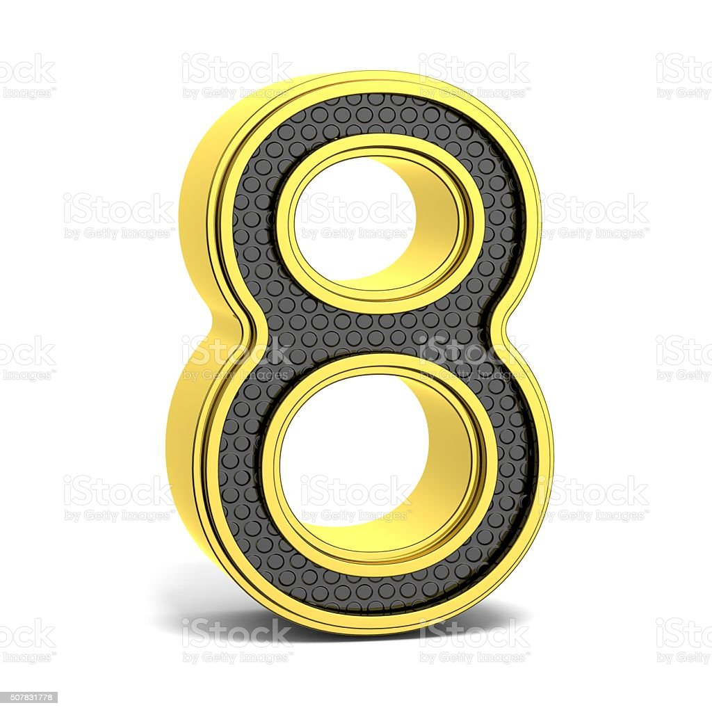 Golden and black round font. Number 8. 3D stock photo