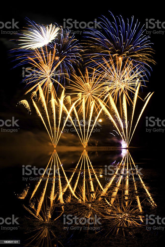 Golden and Blue Fireworks royalty-free stock photo