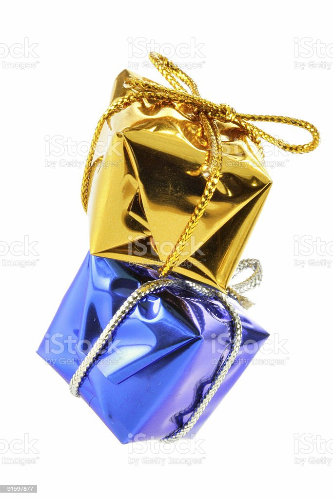 Golden and blue gift boxes royalty-free stock photo