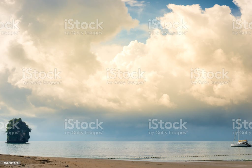 Golden and blue rain clouds in the sky before the storm stock photo