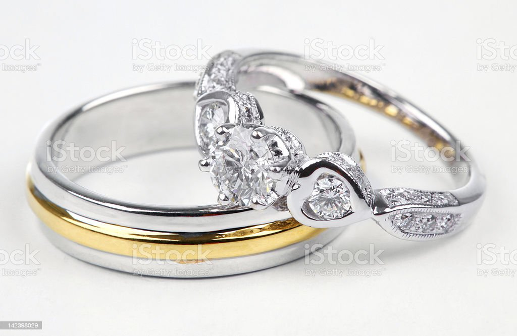 Golden and contemporary diamond ring. royalty-free stock photo