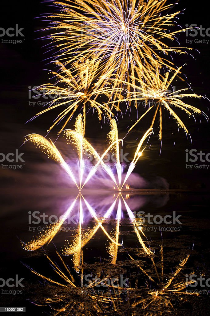 Golden and Purple Fireworks royalty-free stock photo