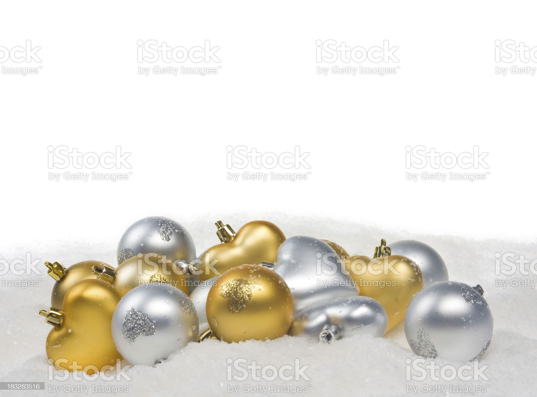 golden and silver Baubles with Snowflakes royalty-free stock photo