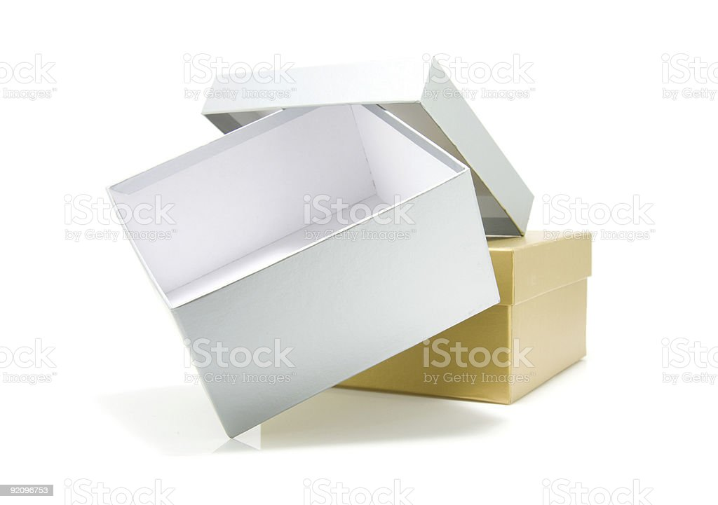 golden and silver box stock photo