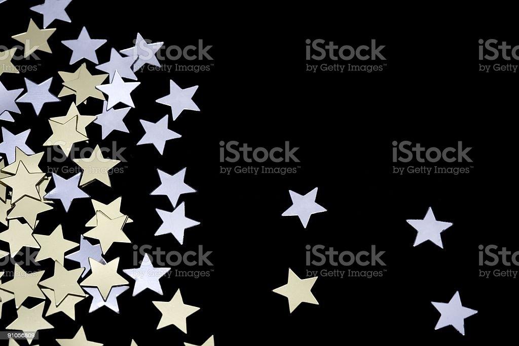 Golden and Silver Confetti stock photo