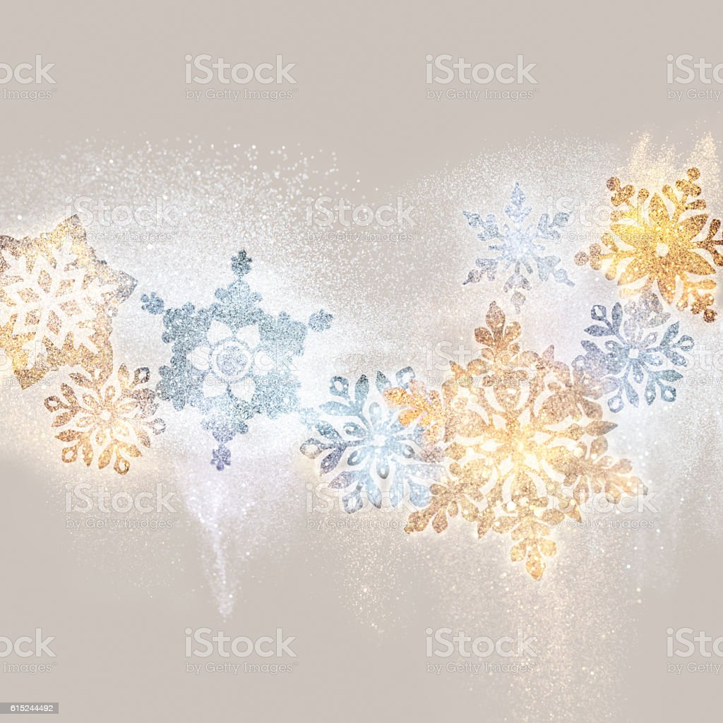 Golden and silver snowflakes decorations stock photo
