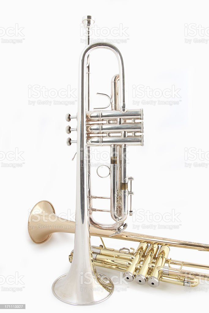 Golden and Silver Trumpet Duet royalty-free stock photo