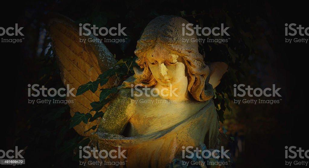 golden angel in the sunlight on black background stock photo