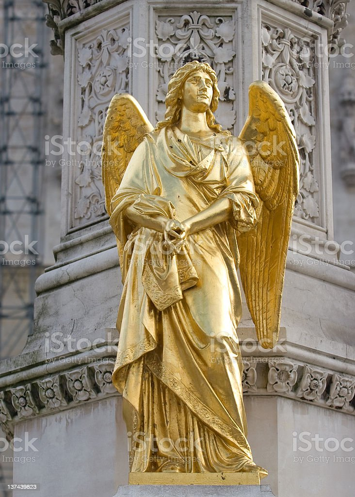 Golden Angel statue in Zagreb stock photo